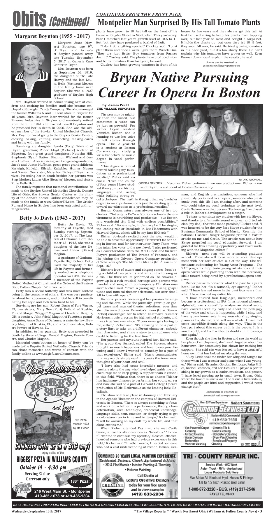 The Village Reporter - September 13th, 2017 Pages 1 - 32