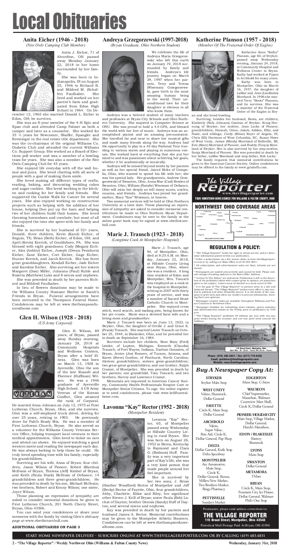 The Village Reporter - January 31st, 2018 Pages 1 - 32