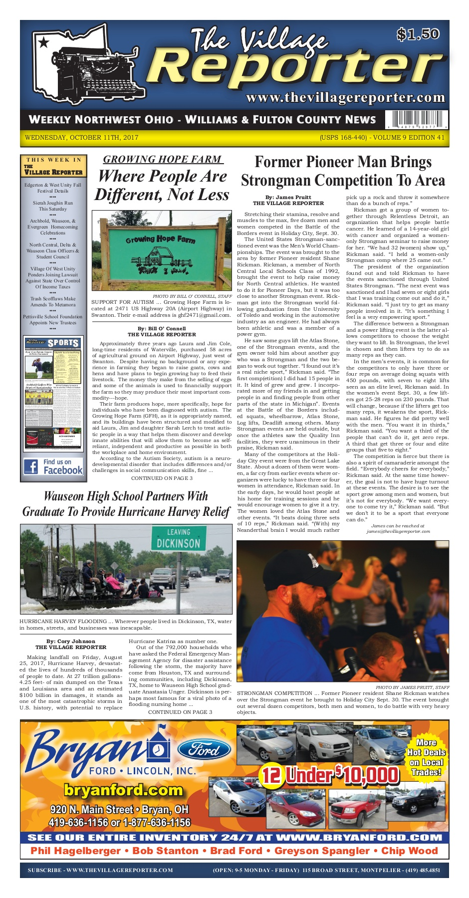 The Village Reporter - October 11th, 2017 Pages 1 - 44
