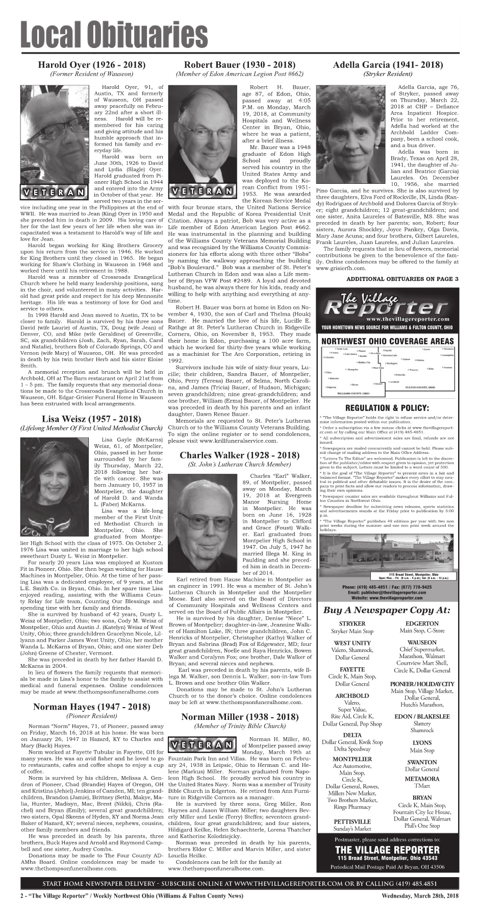 The Village Reporter - March 28th, 2018 Pages 1 - 42 - Text Version