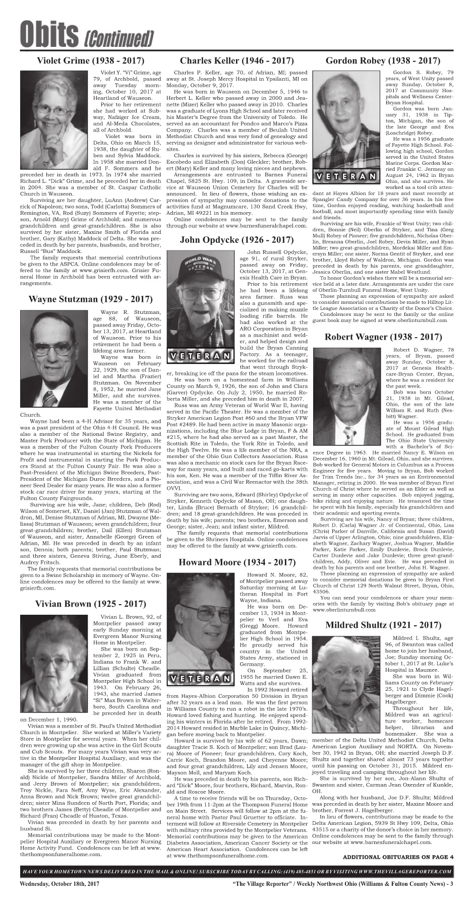 The Village Reporter - October 18th, 2017 Pages 1 - 42