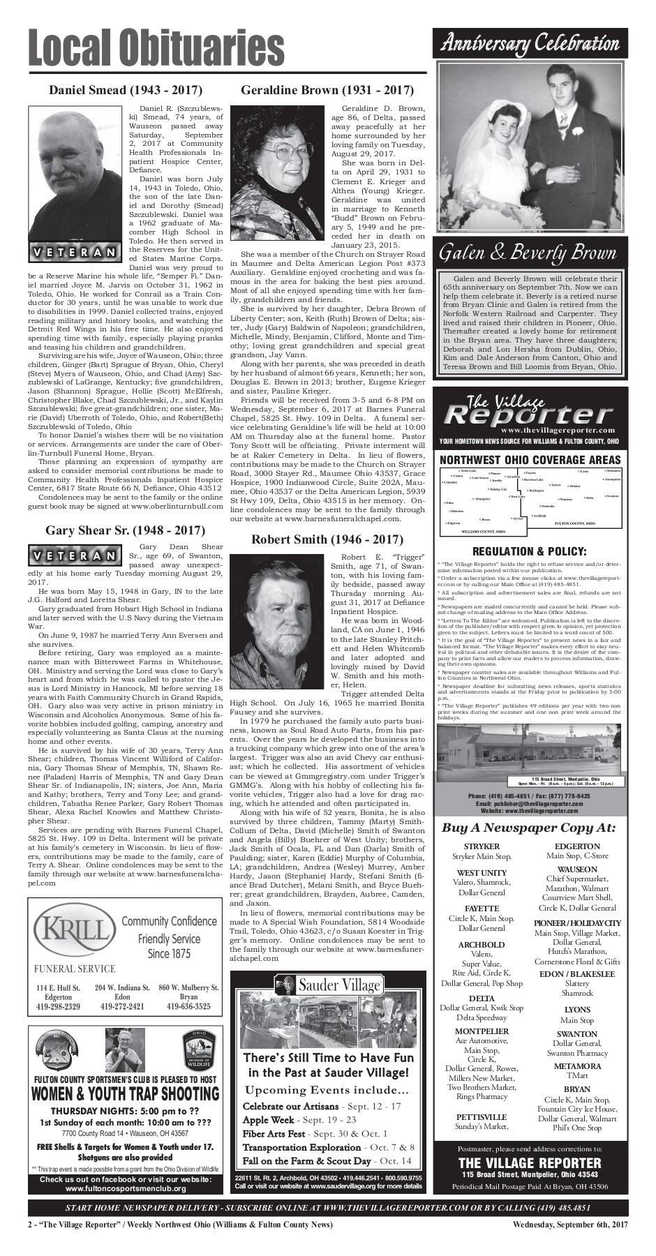 The Village Reporter - September 6th, 2017 Pages 1 - 40