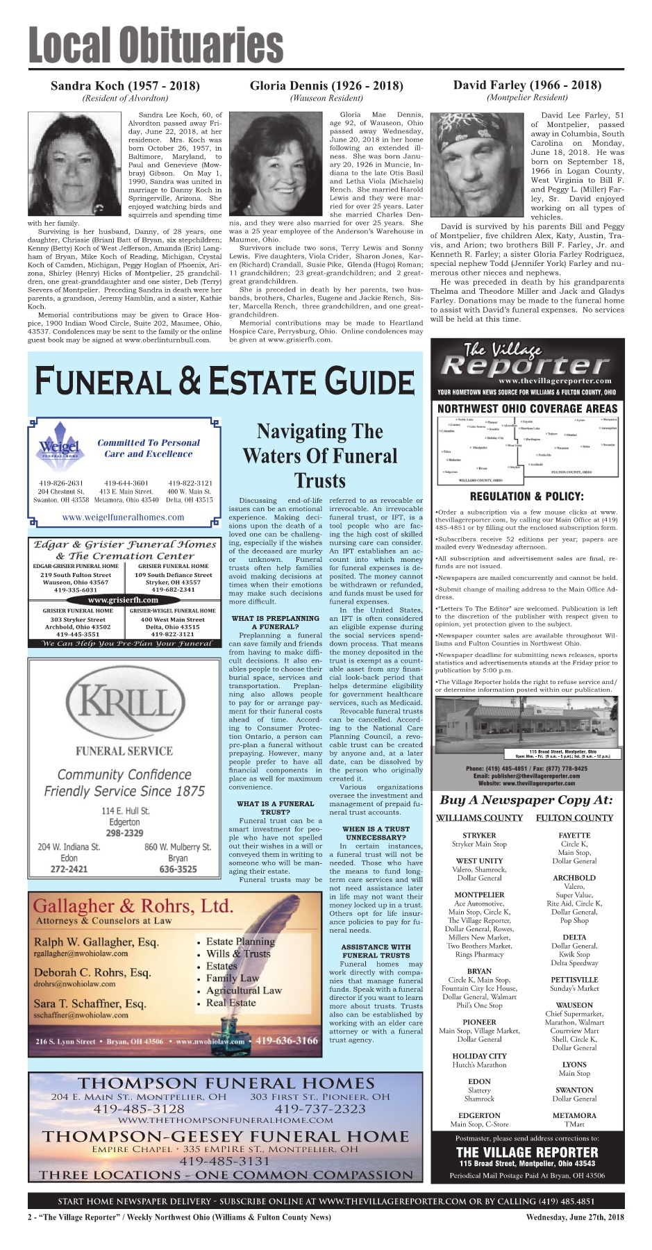 The Village Reporter - June 27th, 2018 Pages 1 - 46 - Text Version ...