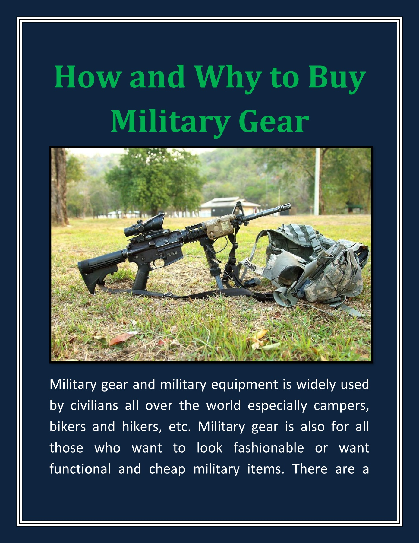 How and Why to Buy Military Gear