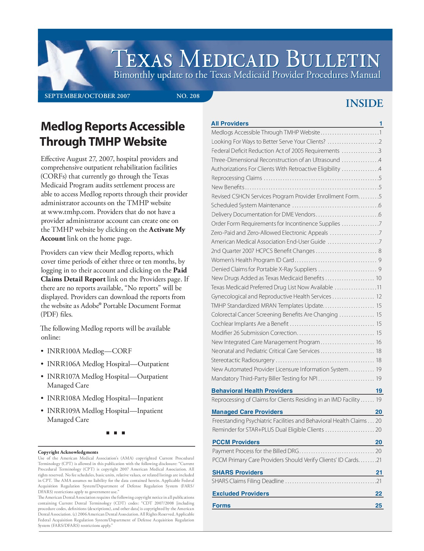 T EXAS MEDICAID BULLETIN - TMHP Pages 1 - 36 - Text Version