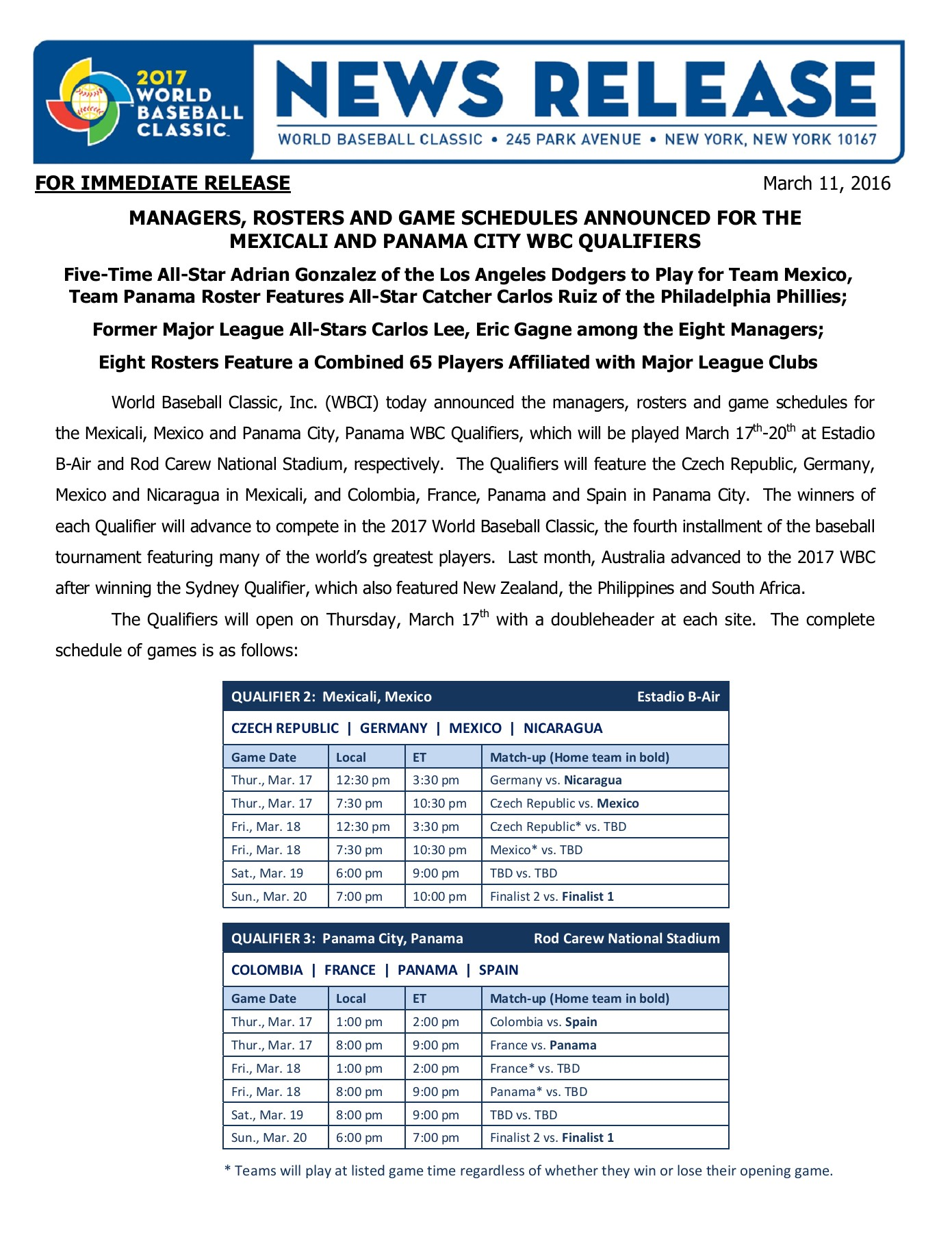 Managers, Rosters and Game Schedule Announced For Mexicali