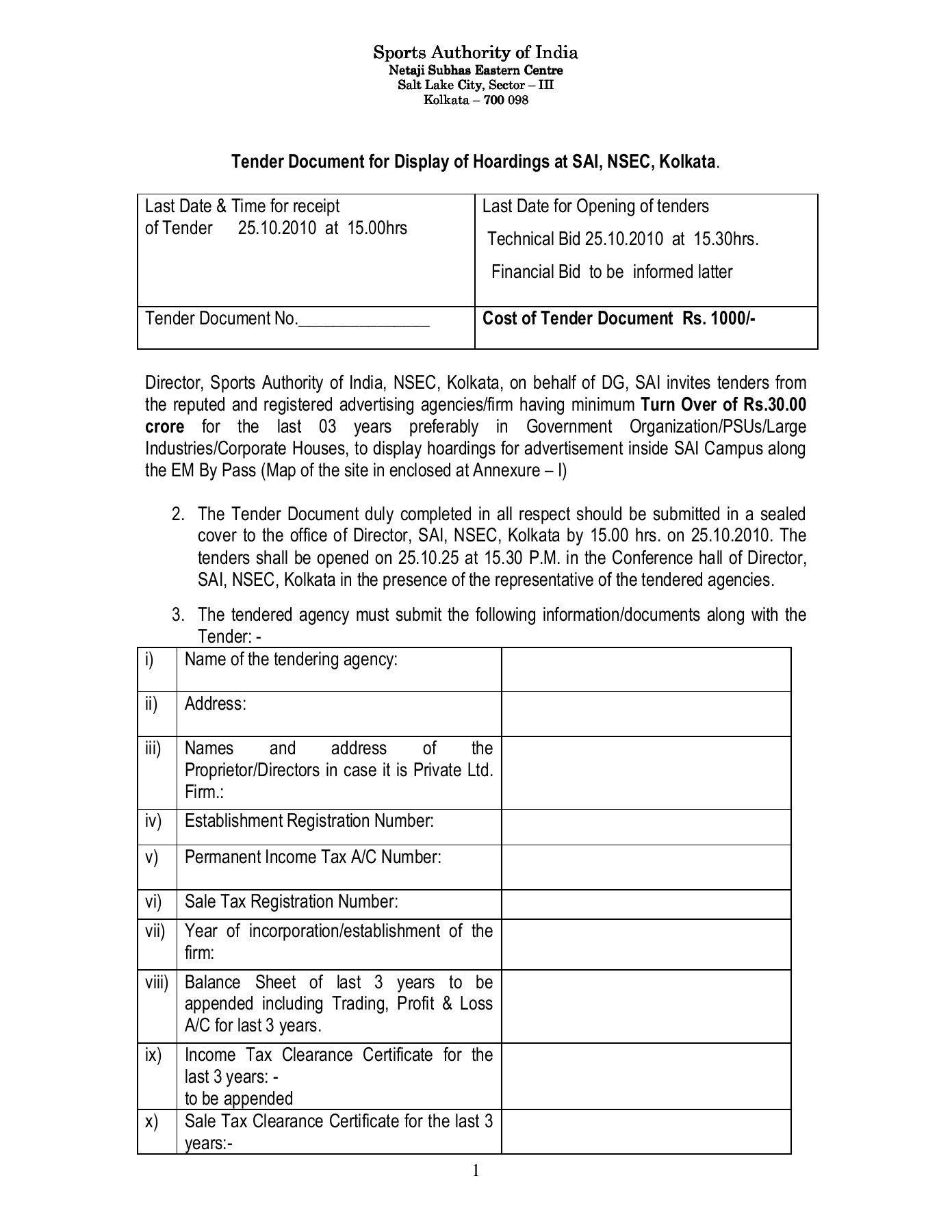 Tender Document for Display of Hoardings at SAI, NSEC, Kolkata Pages