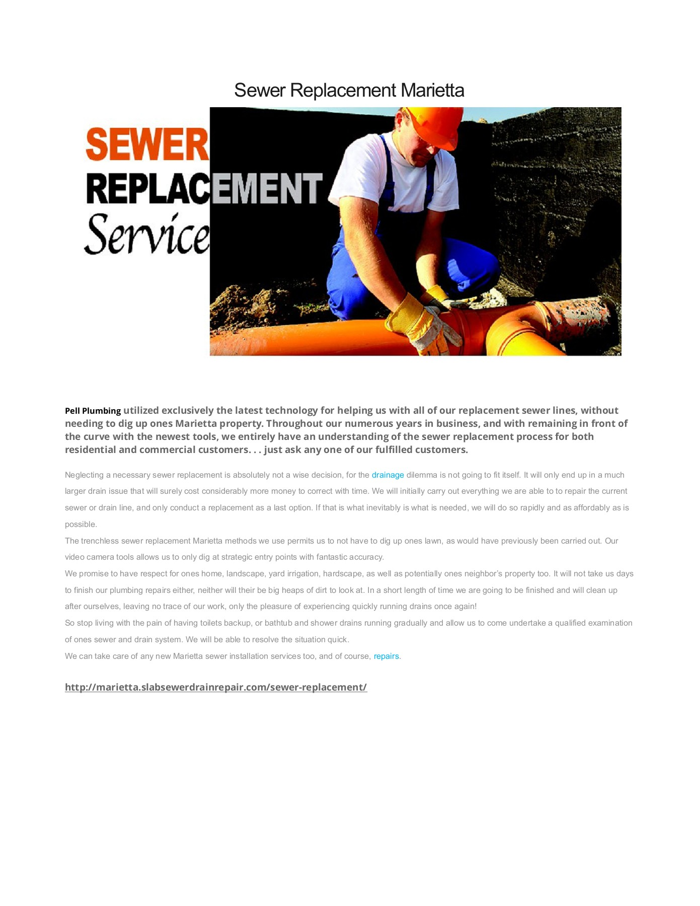 Sewer Replacement Marietta GA Pages 1 - 1 - Text Version