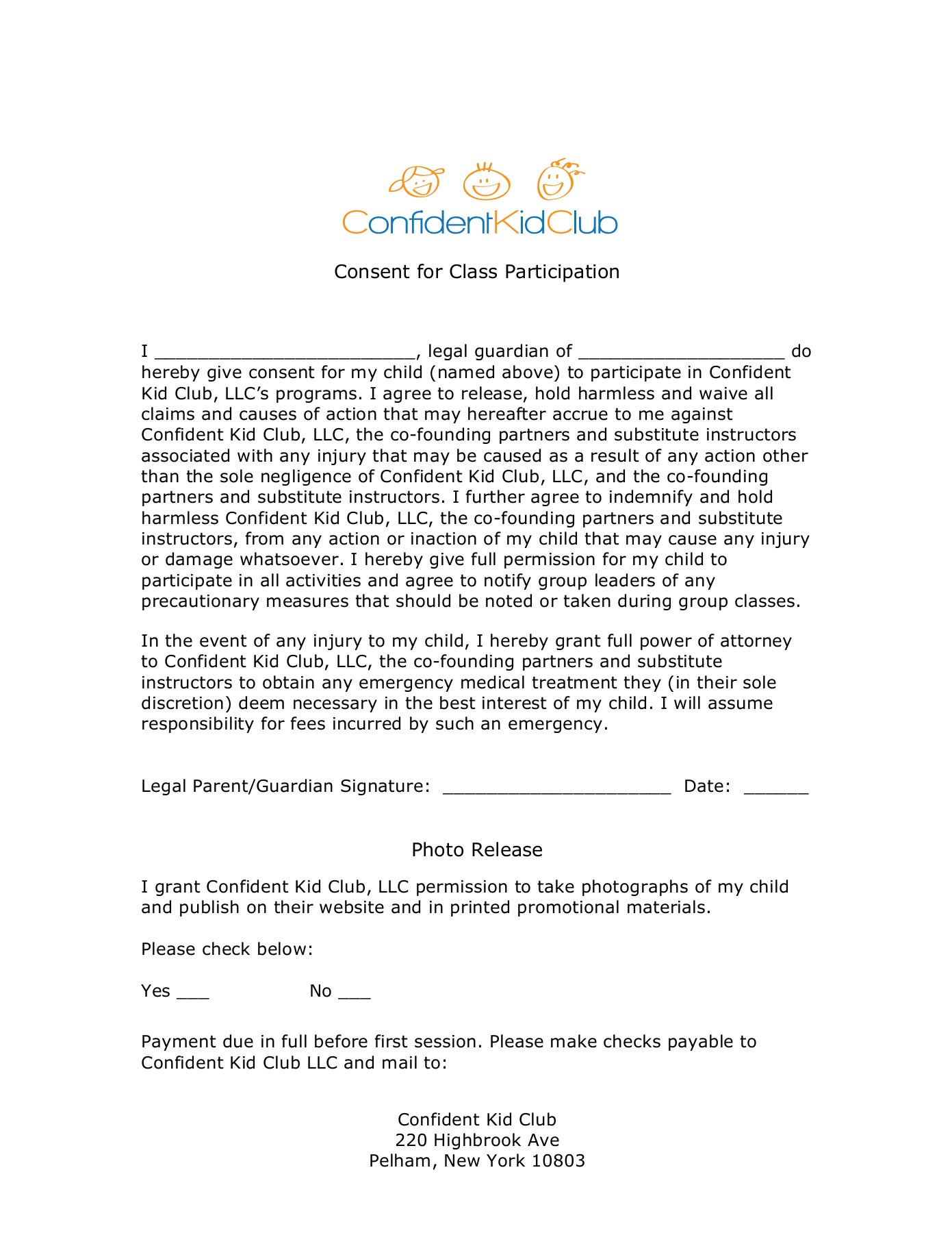 CKC Updated Registration Form 2014 - Confident Kid Club