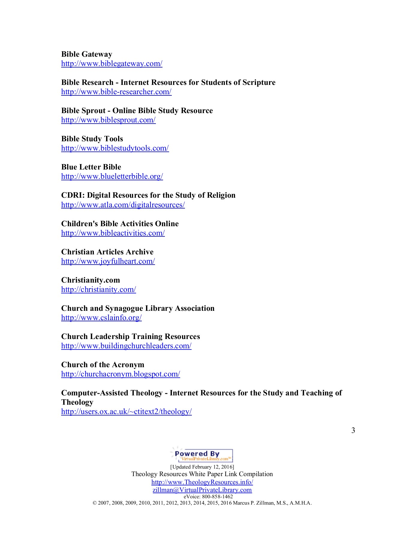 Theology Resources on the Internet 2016