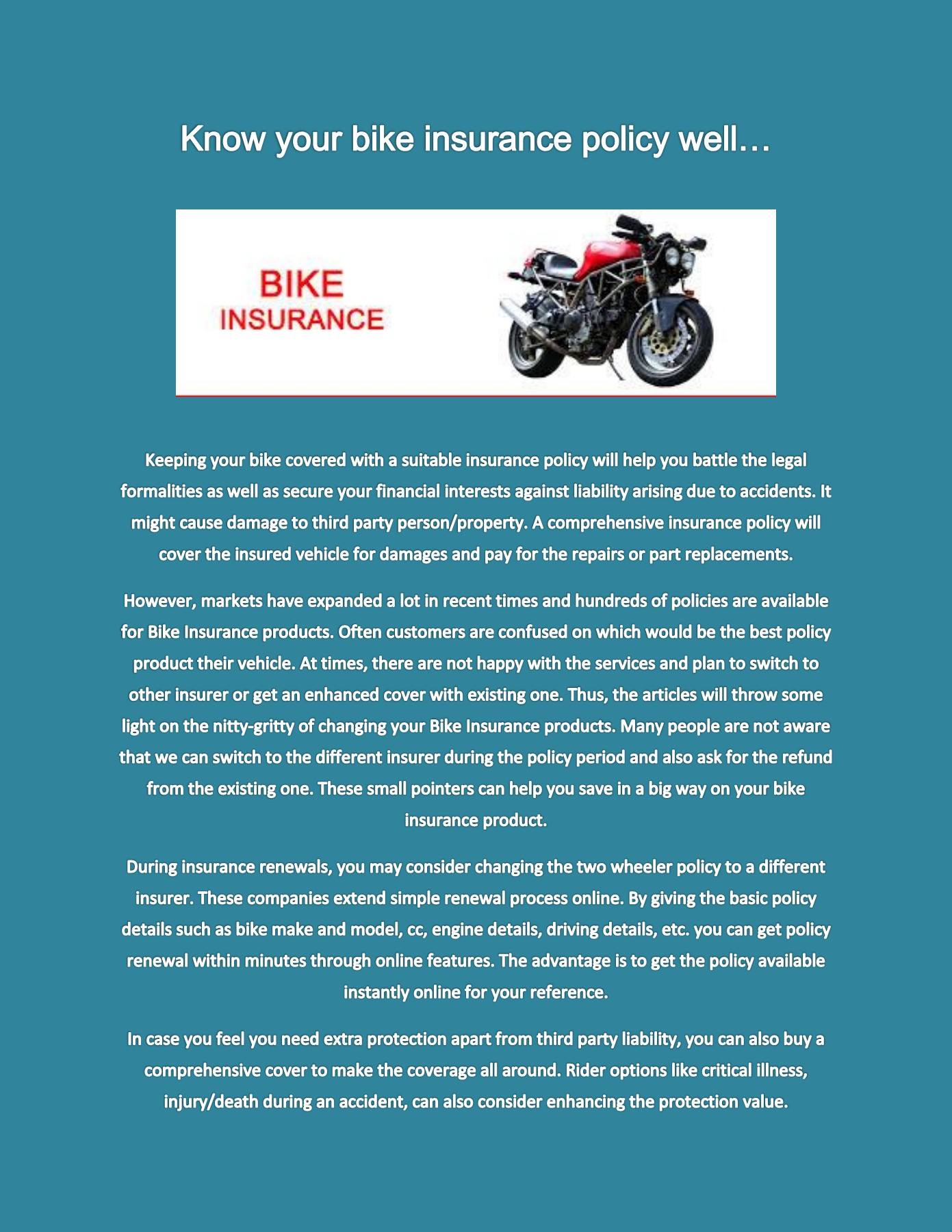 Know Your Bike Insurance Policy Well