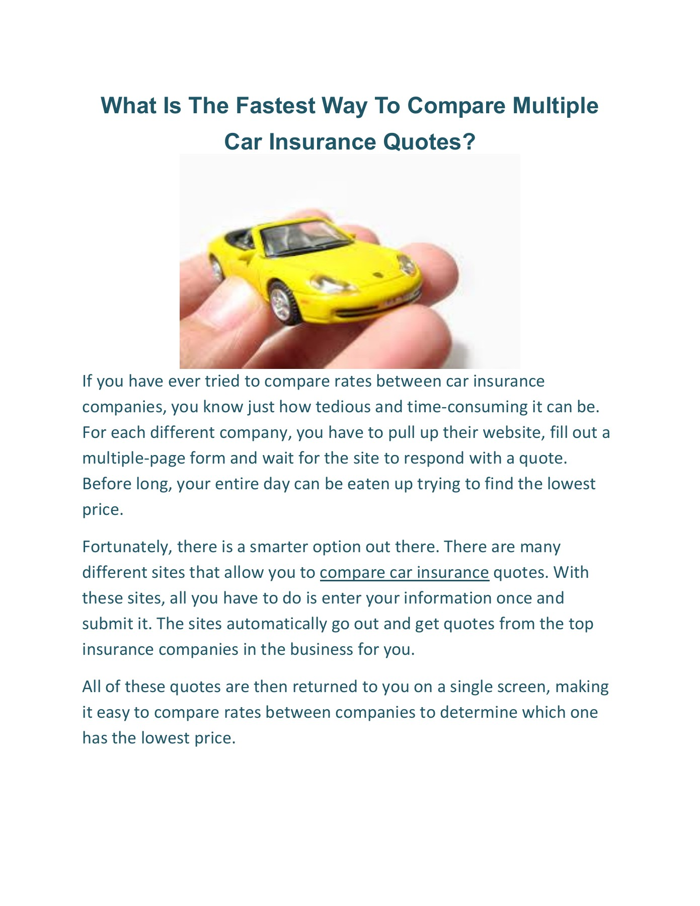 What Is The Fastest Way To Compare Multiple Car Insurance Quotes 1