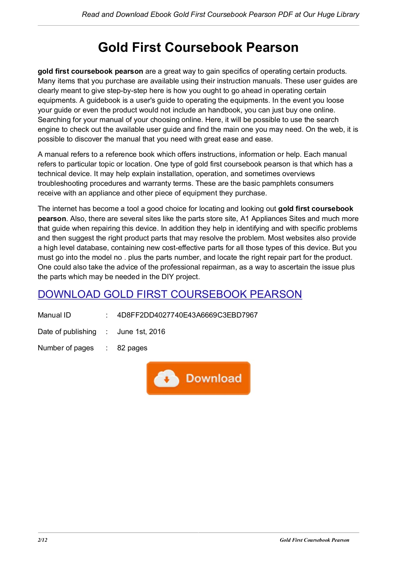 Gold First Coursebook Pearson - patgoode com Pages 1 - 12 - Text