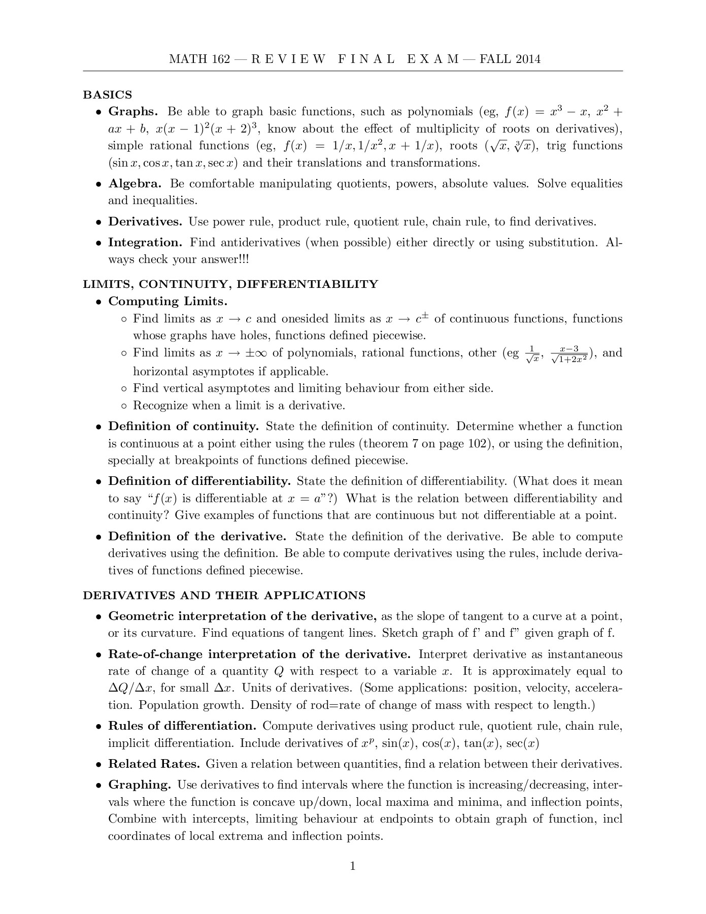 LIMITS, CONTINUITY, DIFFERENTIABILITY Pages 1 - 6 - Text Version