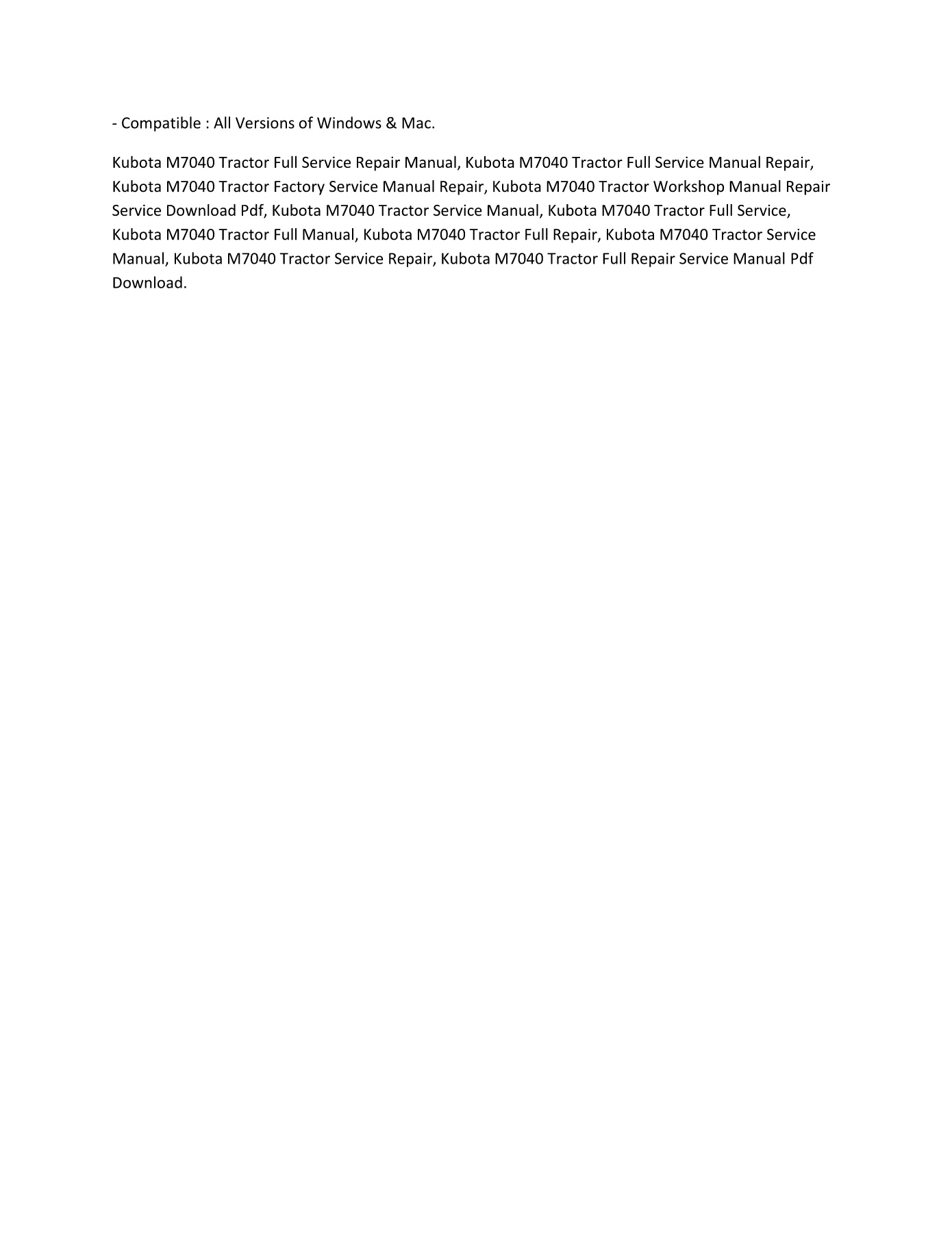 Kubota M7040 Tractor FULL SERVICE MANUAL REPAIR Pages 1 - 2 - Text on