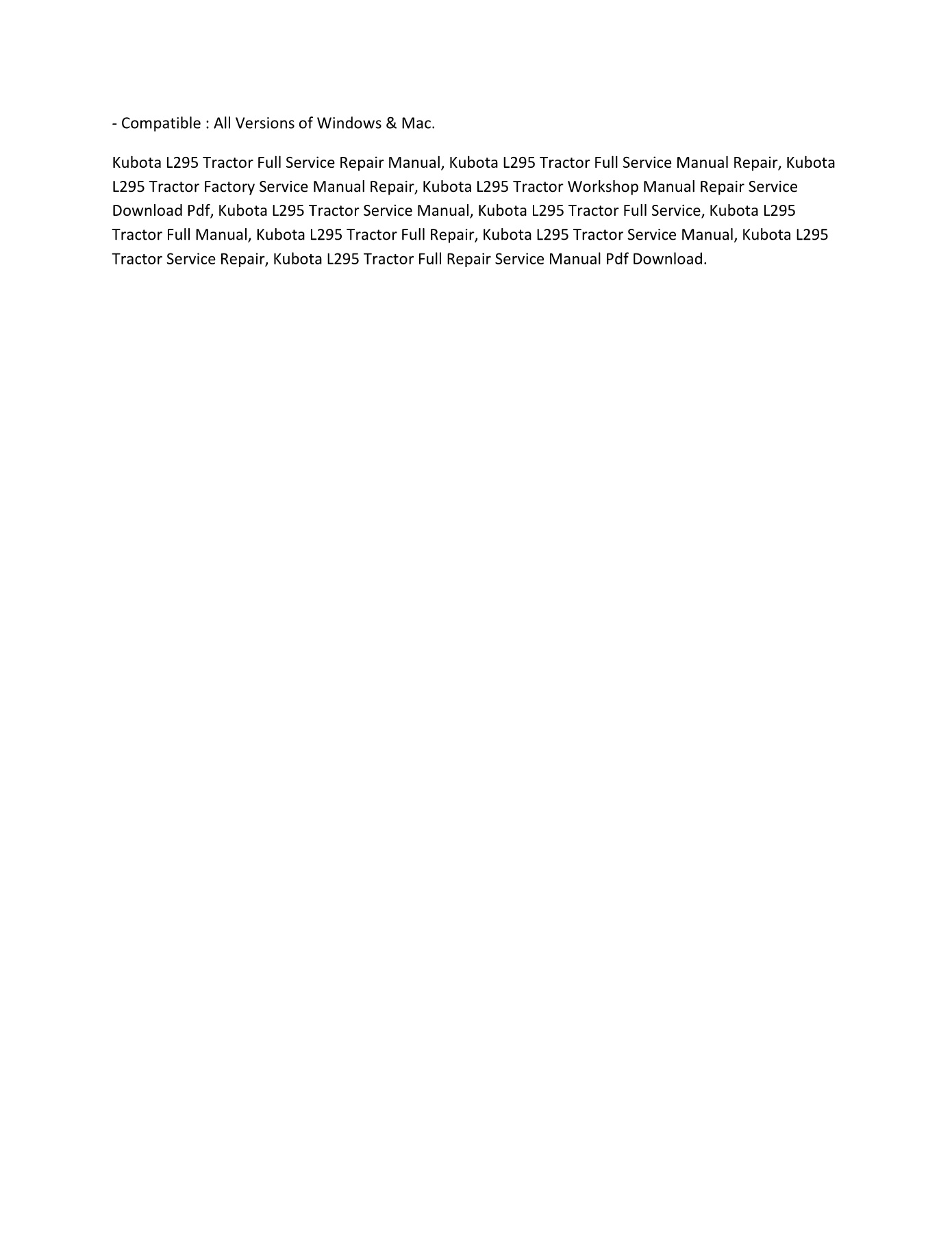 Kubota L295 Tractor FULL SERVICE MANUAL REPAIR Pages 1 - 2 - Text Version |  AnyFlip
