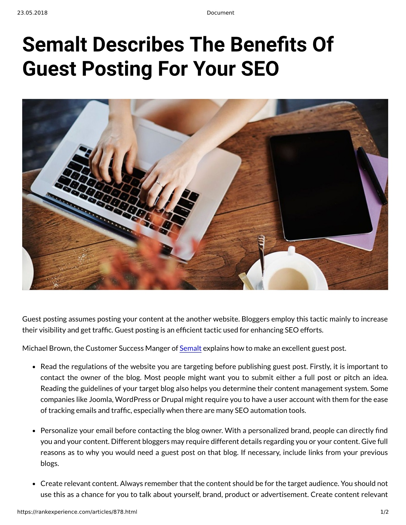 Semalt Describes The Bene¡ts Of Guest Posting For Your SEO