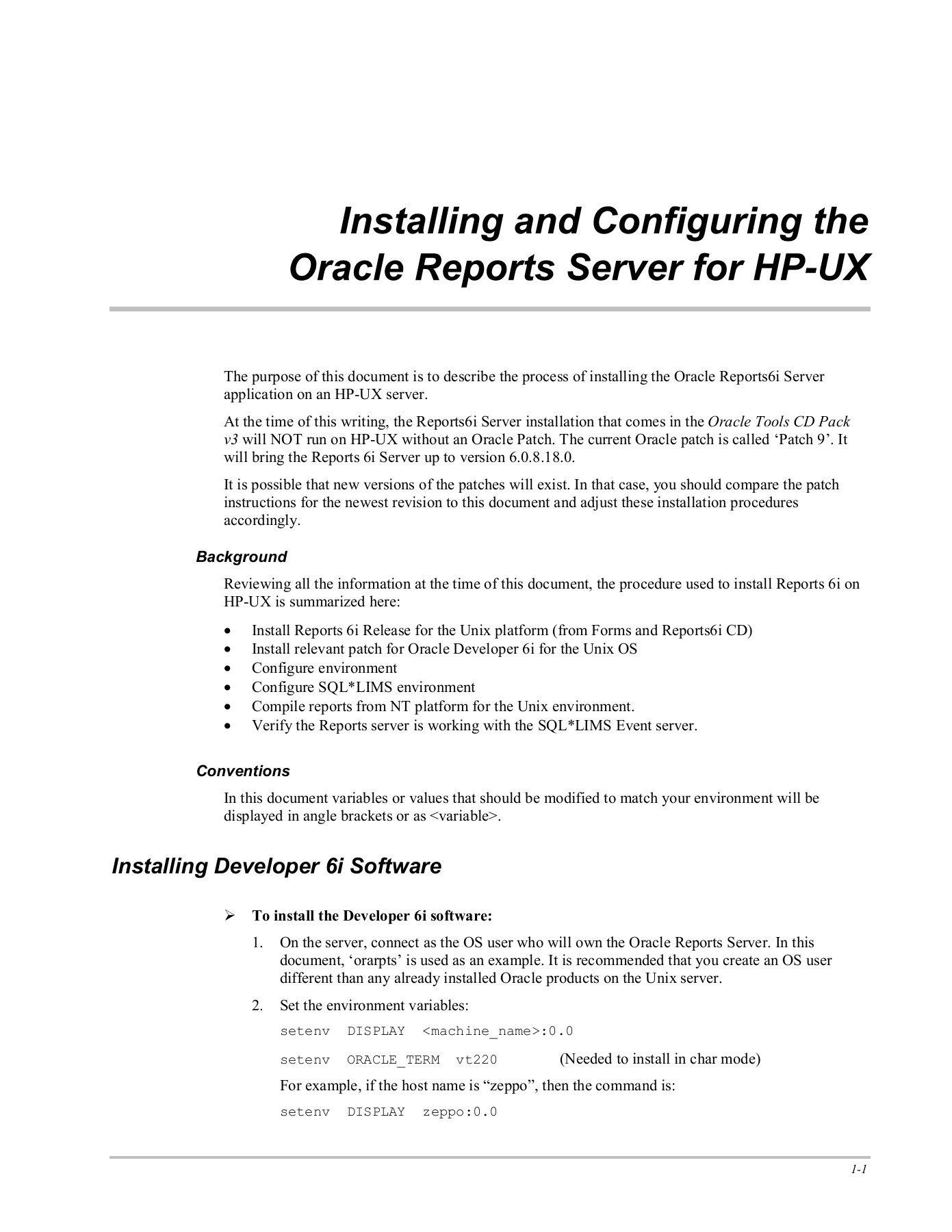 Oracle Reports Server Installation and Configuration Pages 1