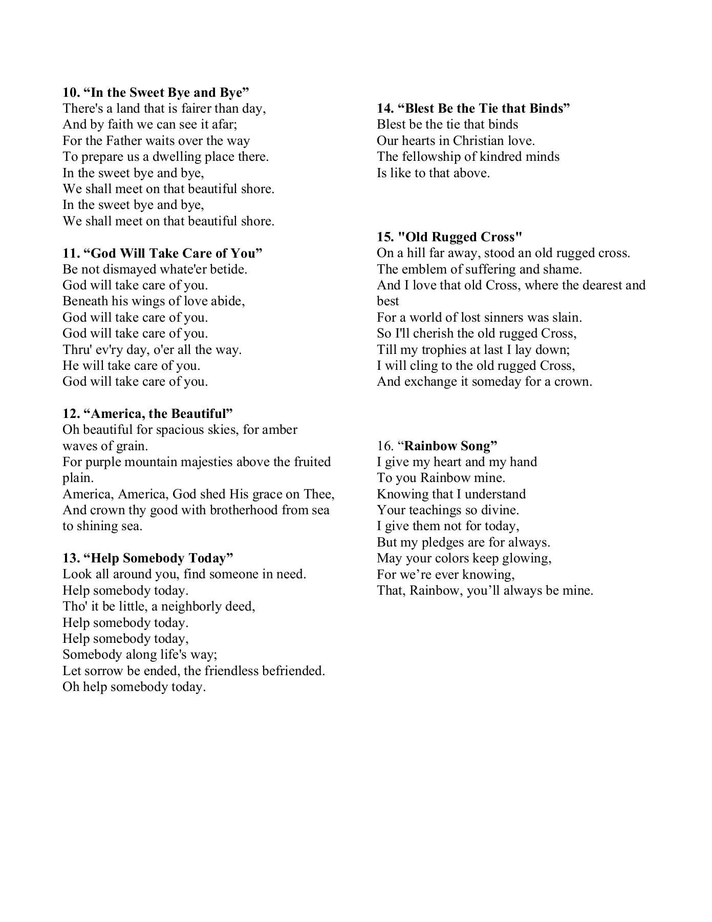 Rainbow Choir Songs - PA Rainbow Girls Pages 1 - 5 - Text