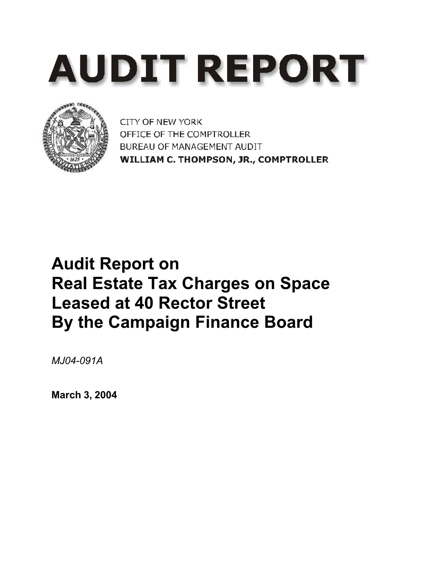 Audit Report on Real Estate Tax Charges on Space Leased at