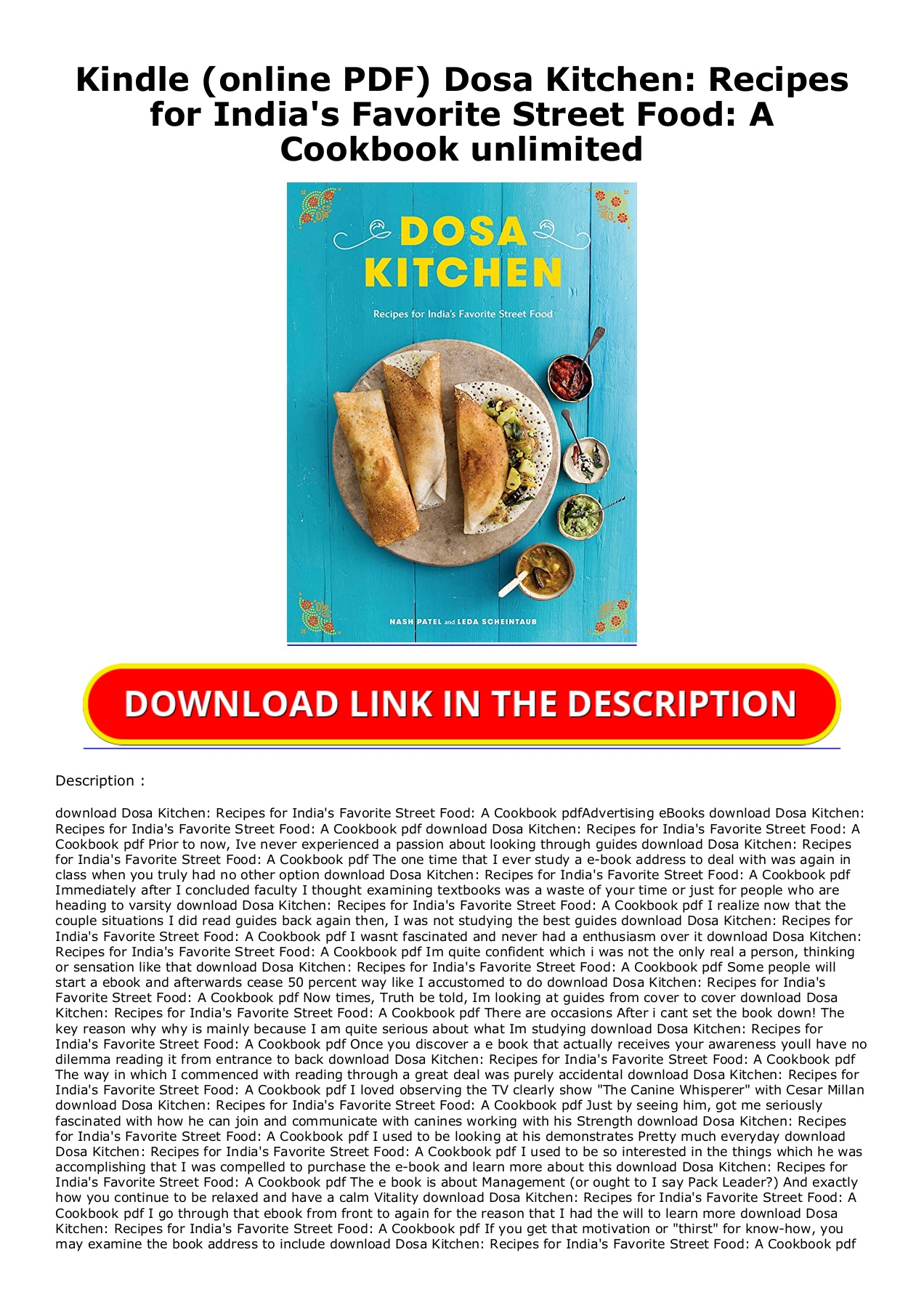 Kindle Online Pdf Dosa Kitchen Recipes For India S Favorite Street Food A Cookbook Unlimited
