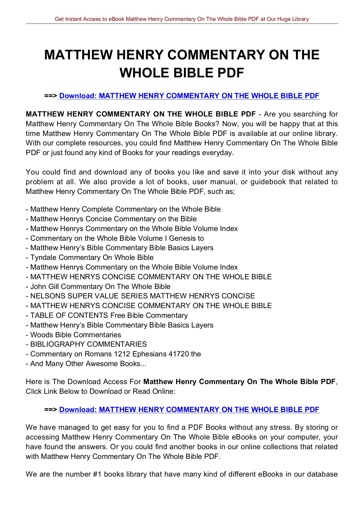 Henry whole matthew pdf on bible the commentary