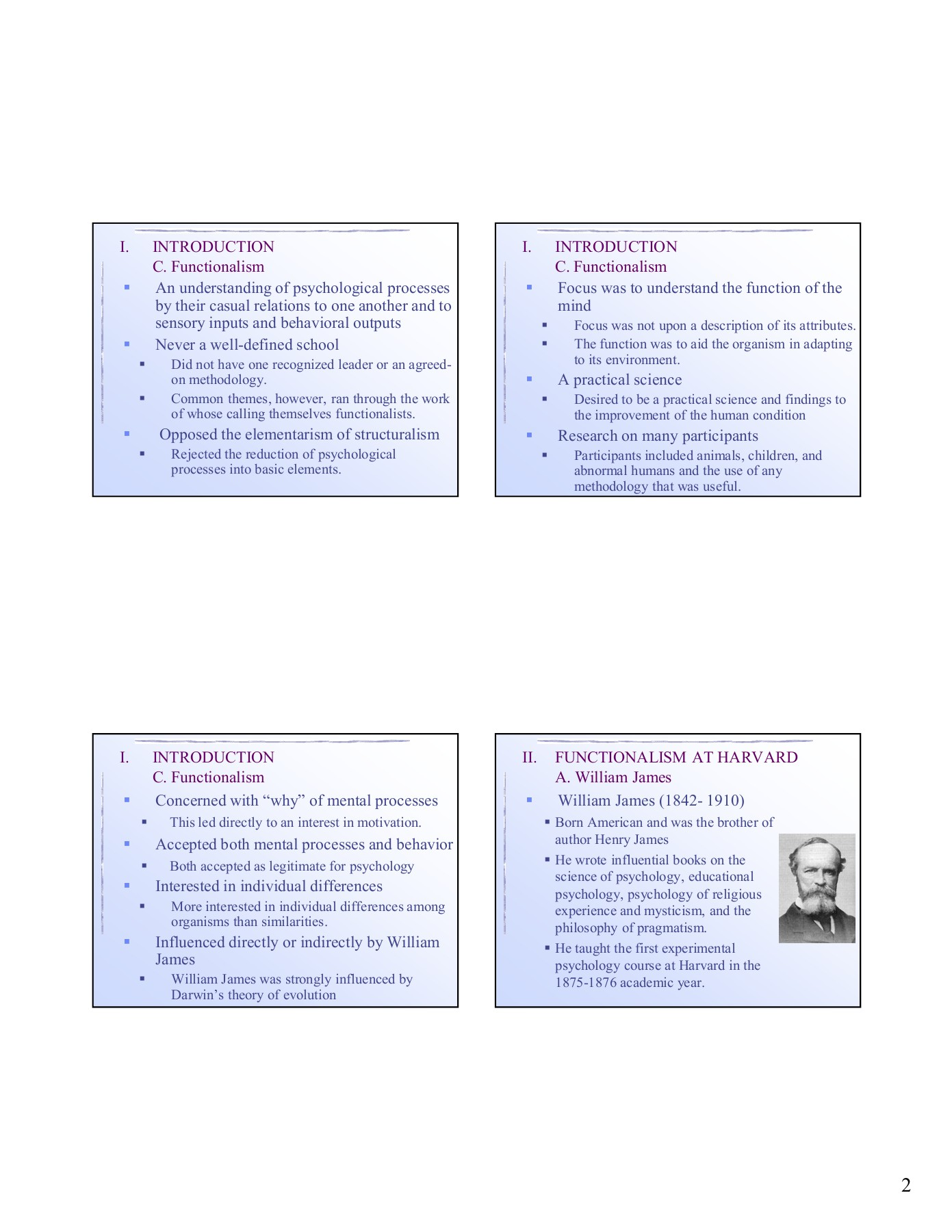 Lecture 11: Functionalism, the US brand of Psychology Pages