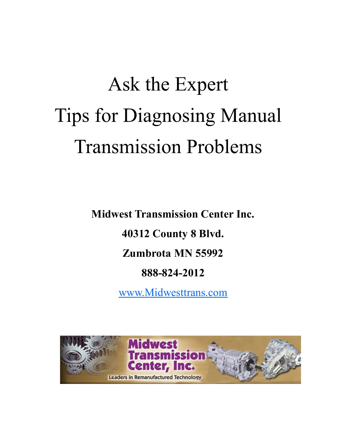 Ask the Expert Tips for Diagnosing Manual Transmission     Pages 1