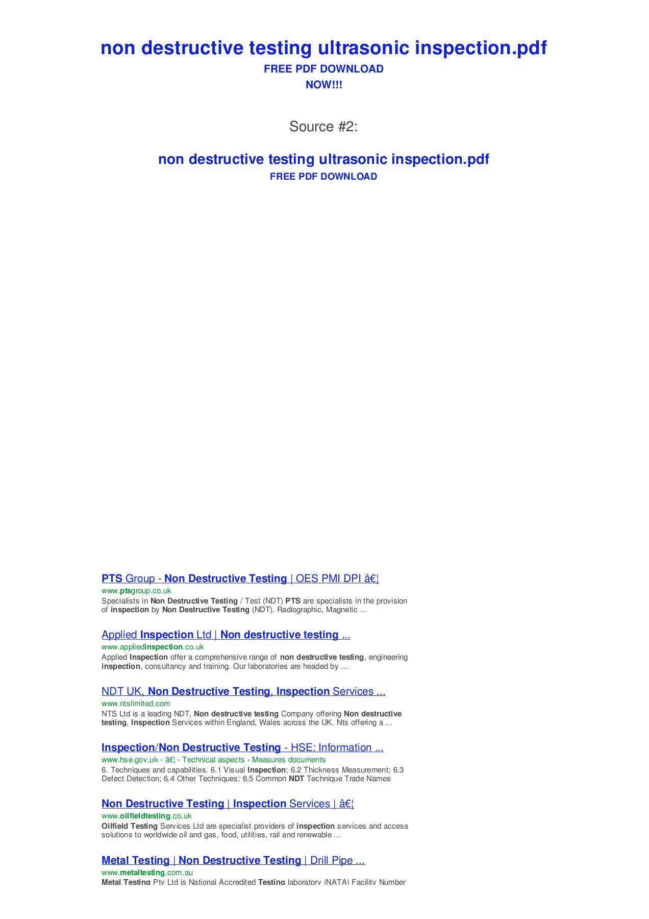 non destructive testing ultrasonic inspection - Bing Pages 1