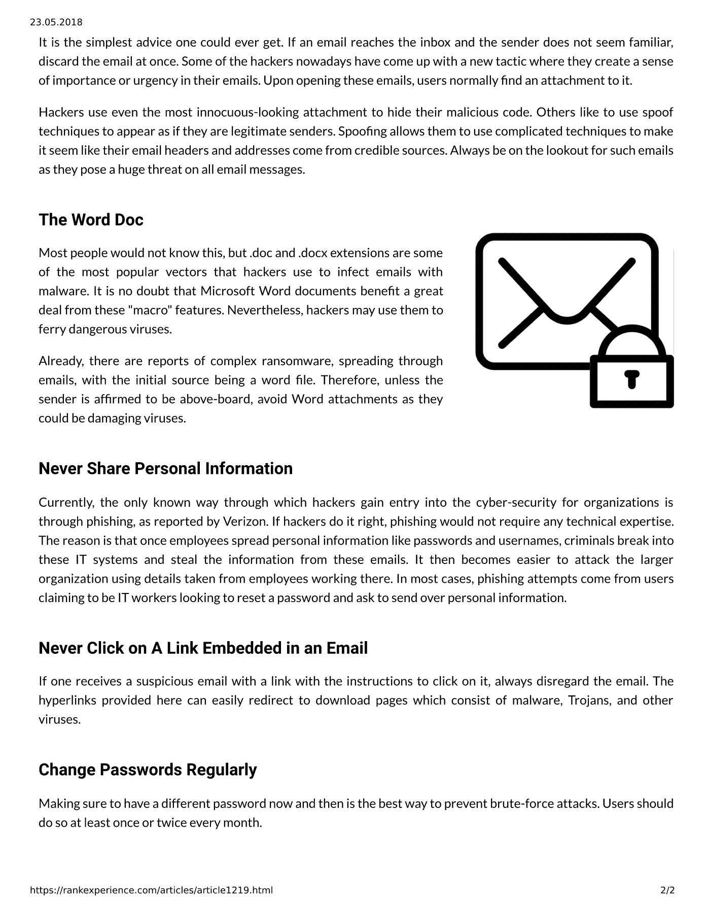 Semalt: Simple Tricks To Ensure Email Safety Pages 1 - 2