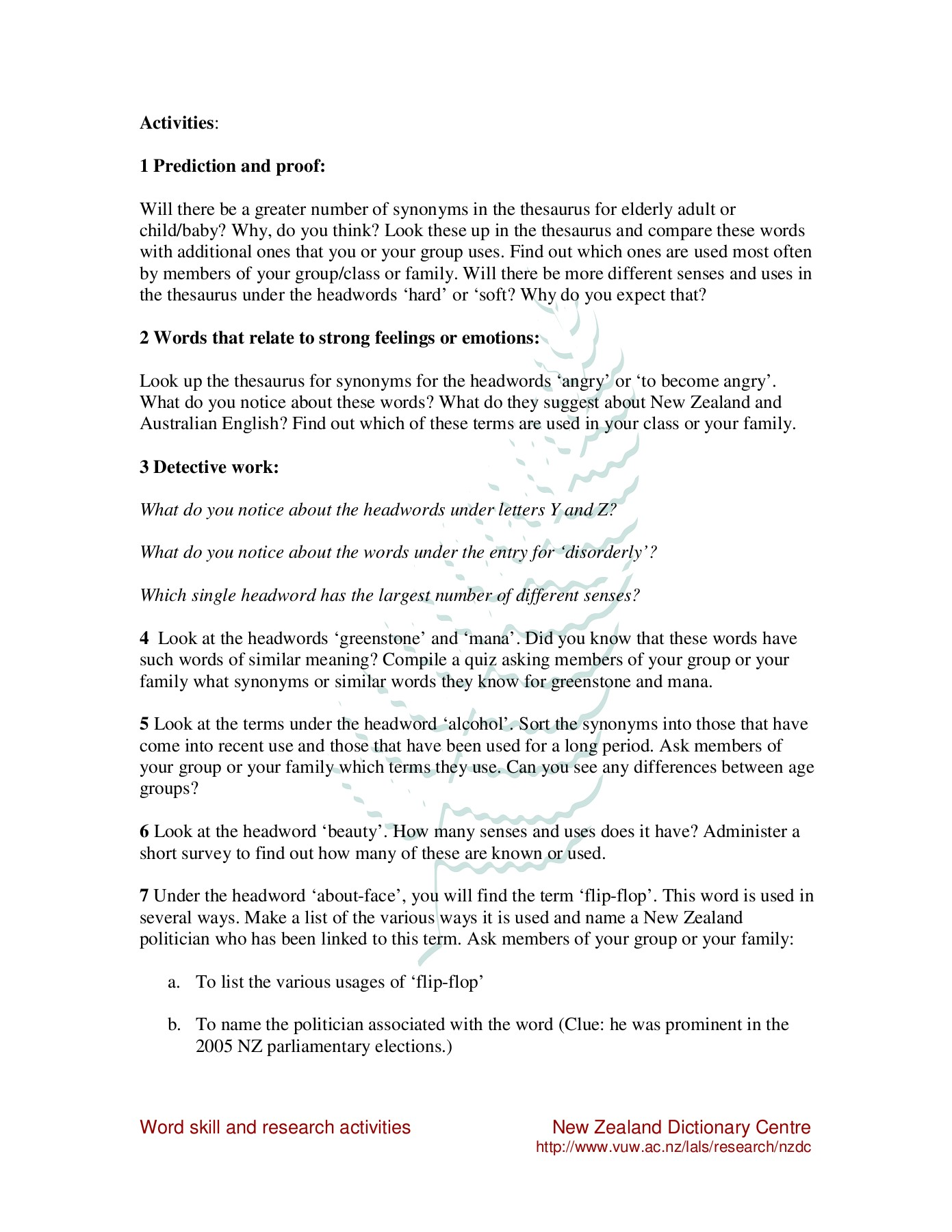 A15 Word skill and research activities Pages 1 - 6 - Text