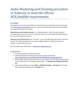 mastering for ACX with Audacity Pages 1 - 8 - Text Version | AnyFlip