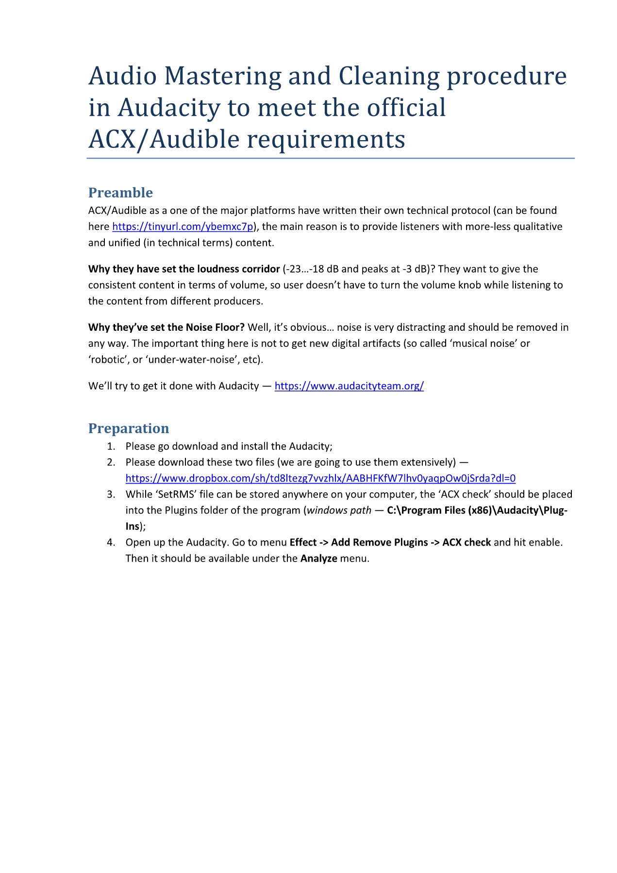 mastering for ACX with Audacity Pages 1 - 8 - Text Version