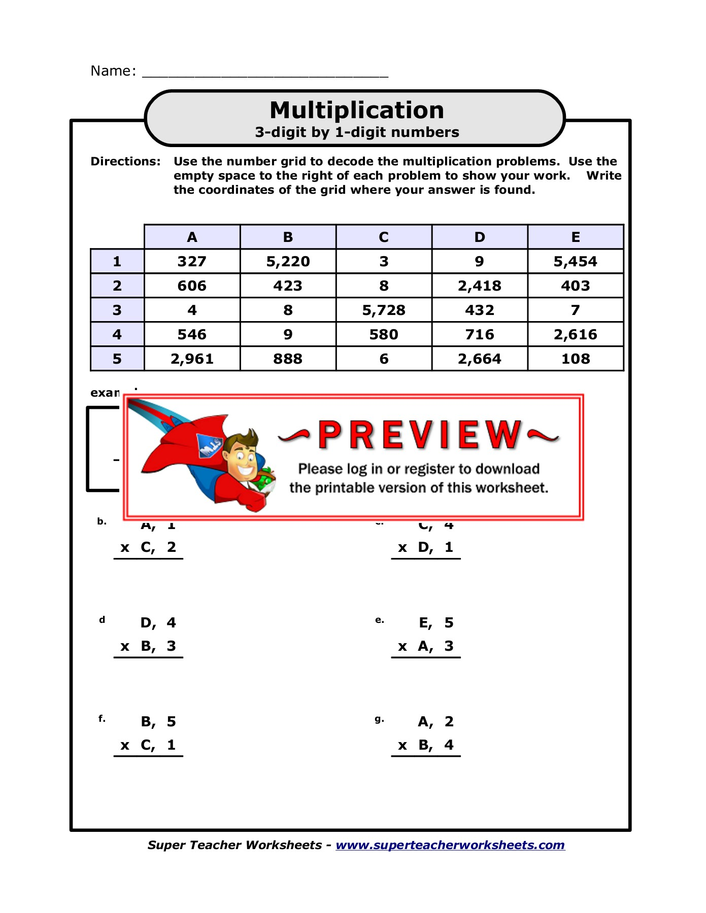 Multiplication Super Teacher Worksheets