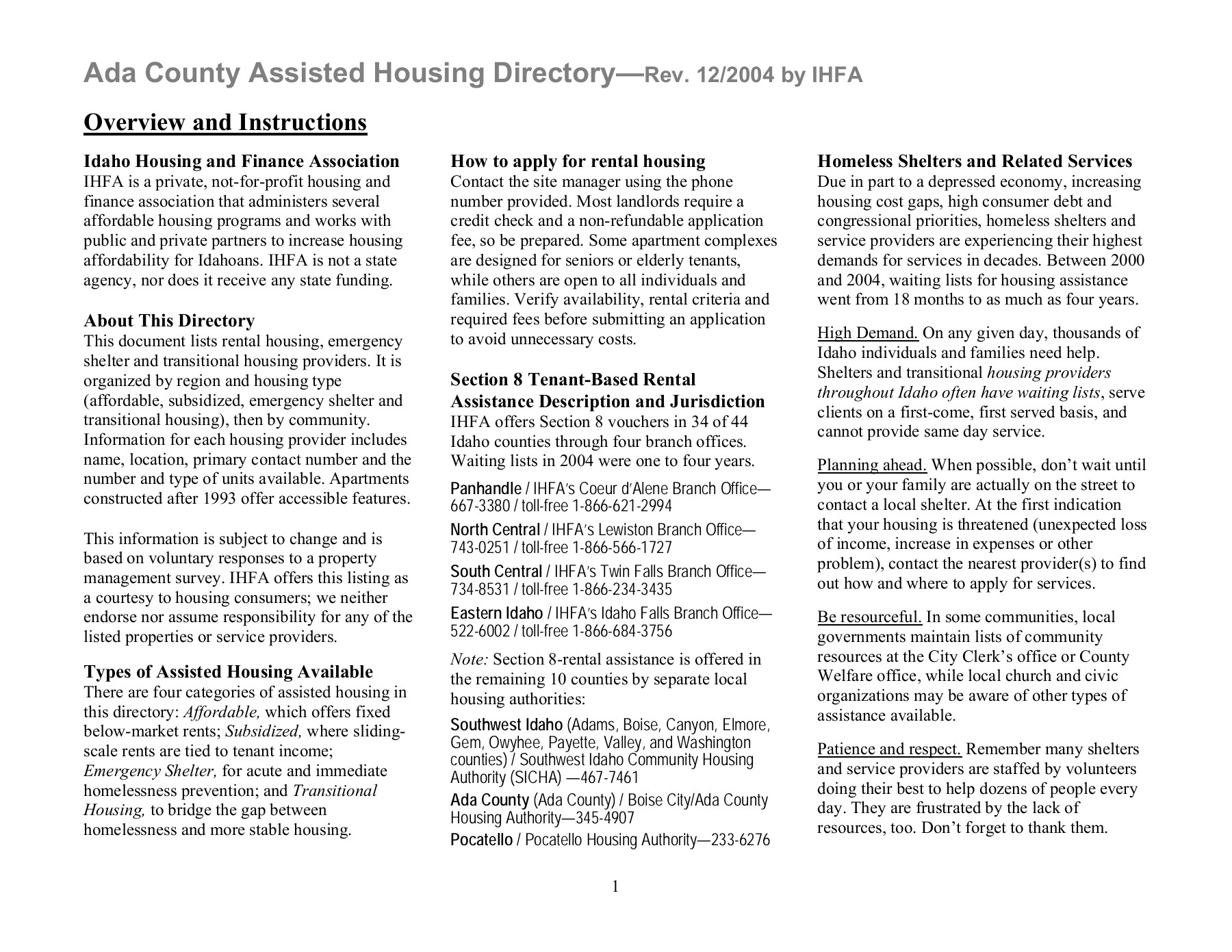 Ada County Assisted Housing Directory— Pages 1 - 6 - Text Version
