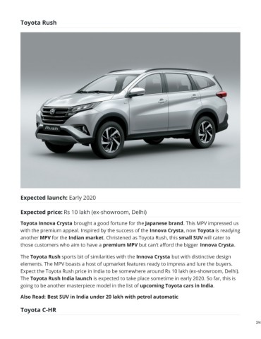 Upcoming Toyota Cars In India 2019 2020 Pages 1 4 Text Version