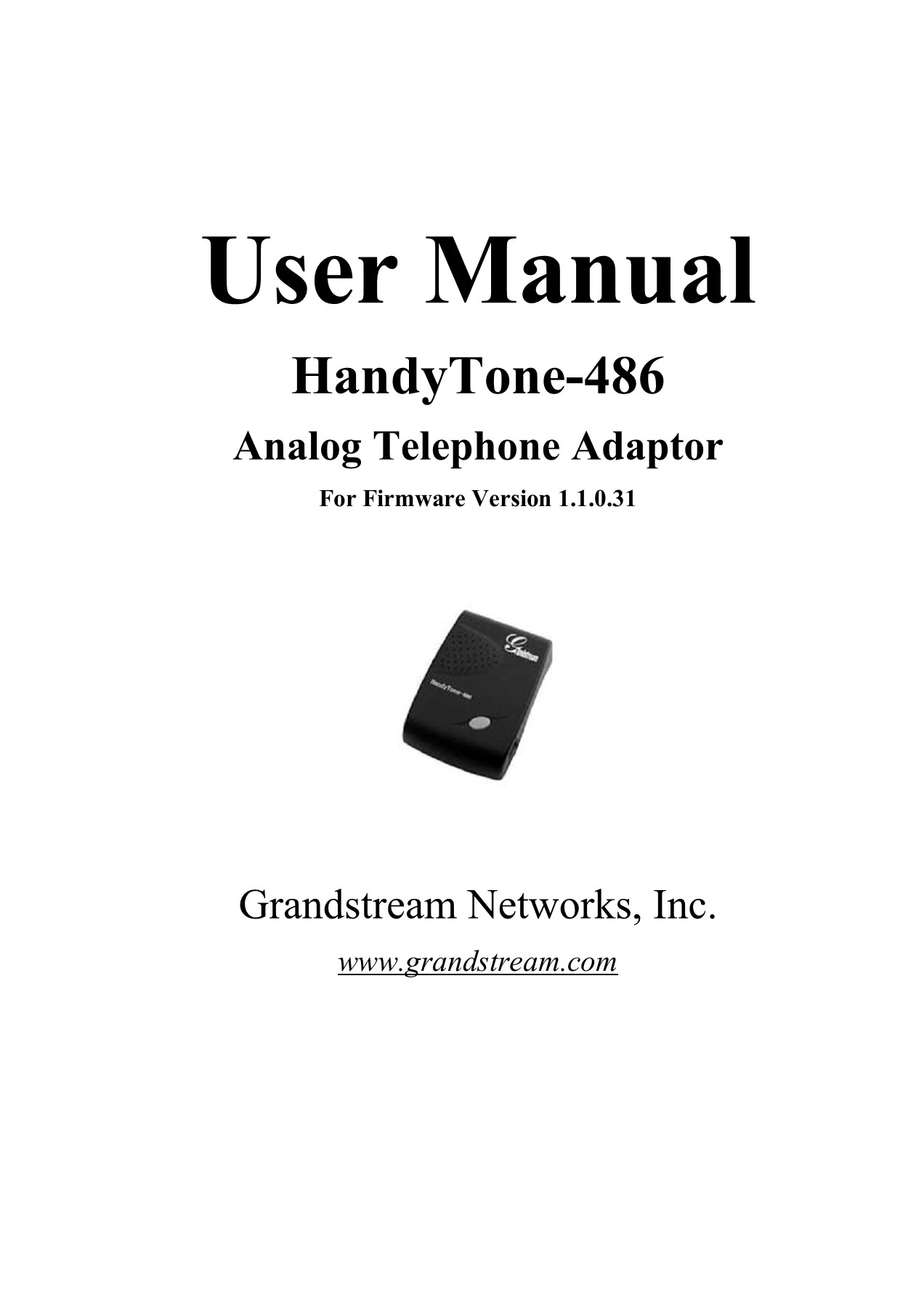 HT486 User Manual 1 1 0 31 - Grandstream Networks Pages 1