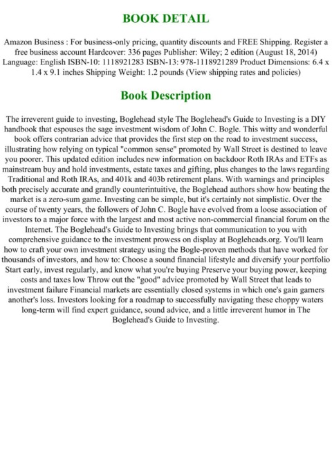 P D F Download The Bogleheads Guide To Investing Full Acces