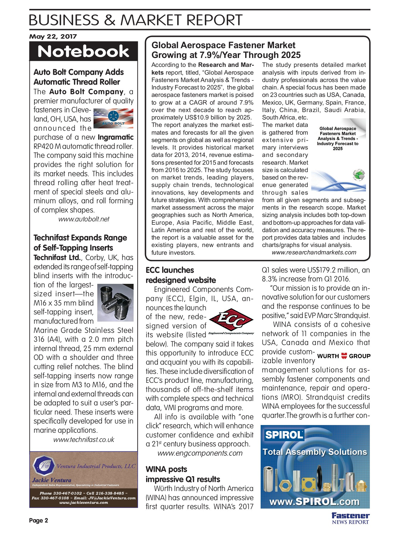 Fastener News Report May 22 Flip Book Edition Pages 1 - 8 - Text
