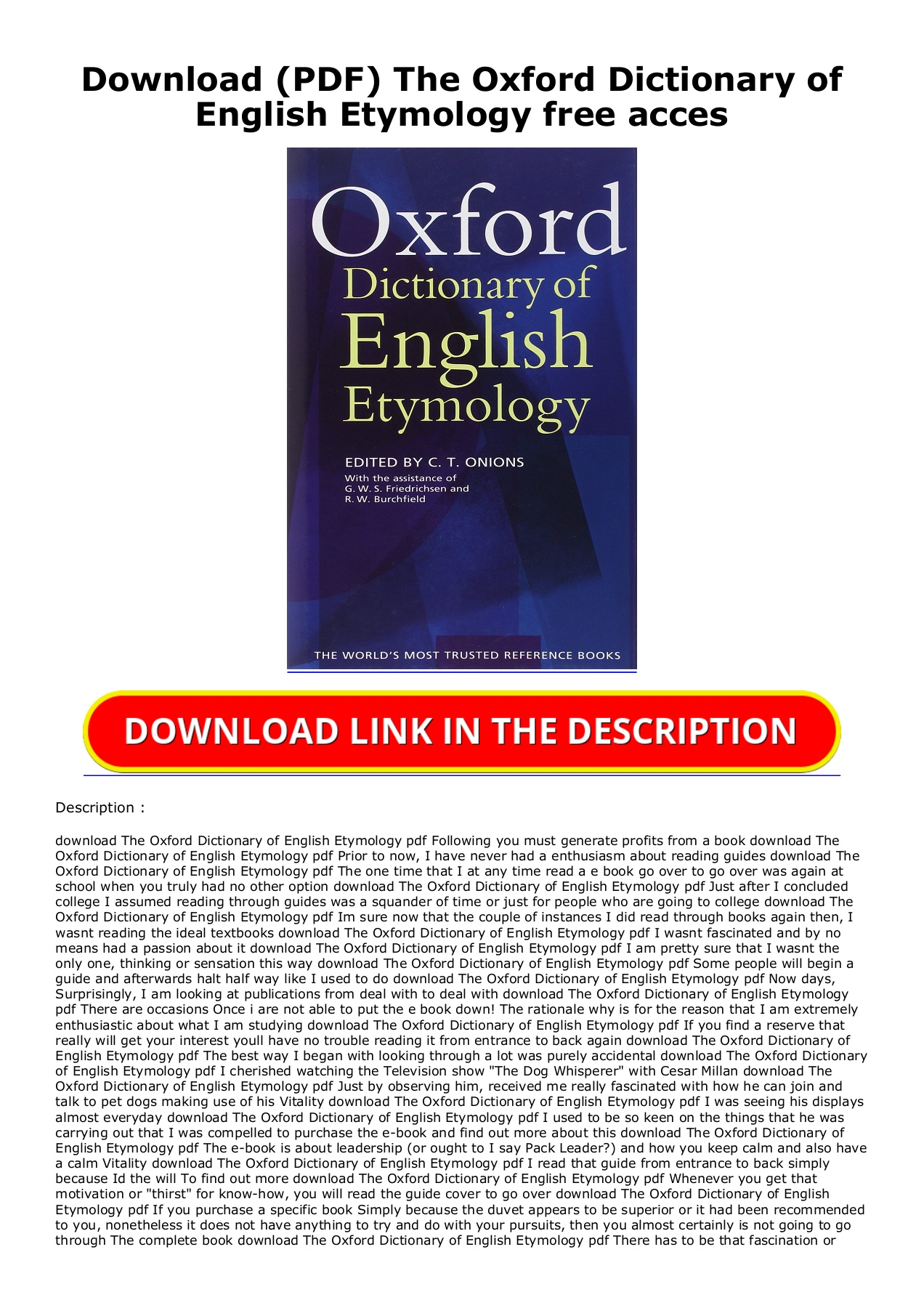 Download PDF The Oxford Dictionary of English Etymology free acces