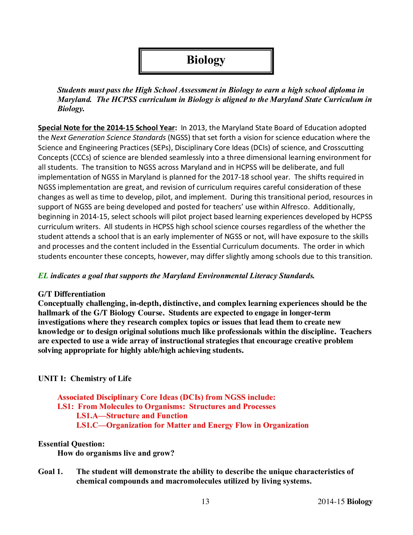 High School Science Essential Curriculum - Biology - Tenth     Pages