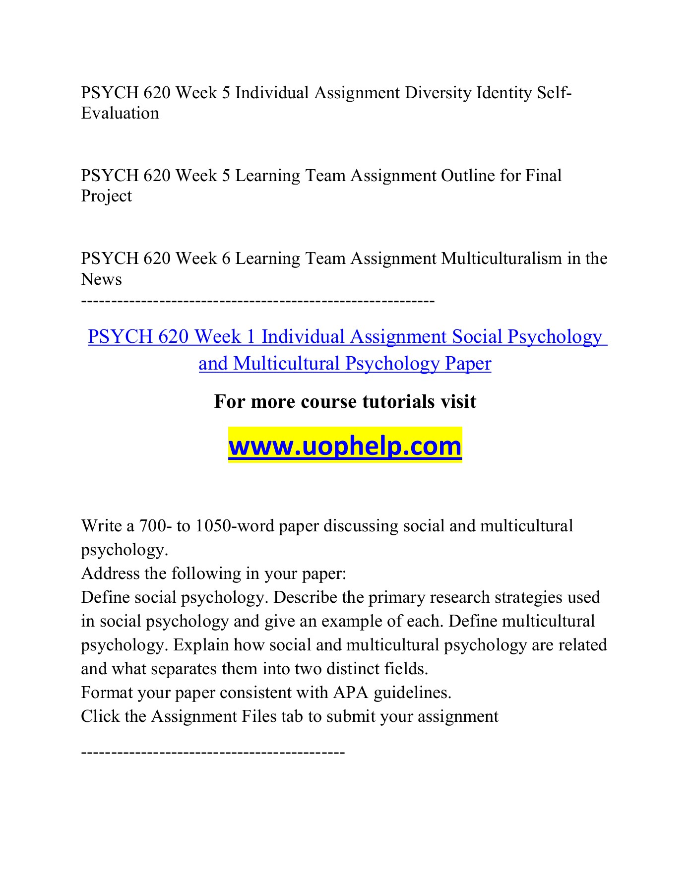 PSYCH 620 Read, Lead, Succeed/Uophelpdotcom Pages 1 - 8