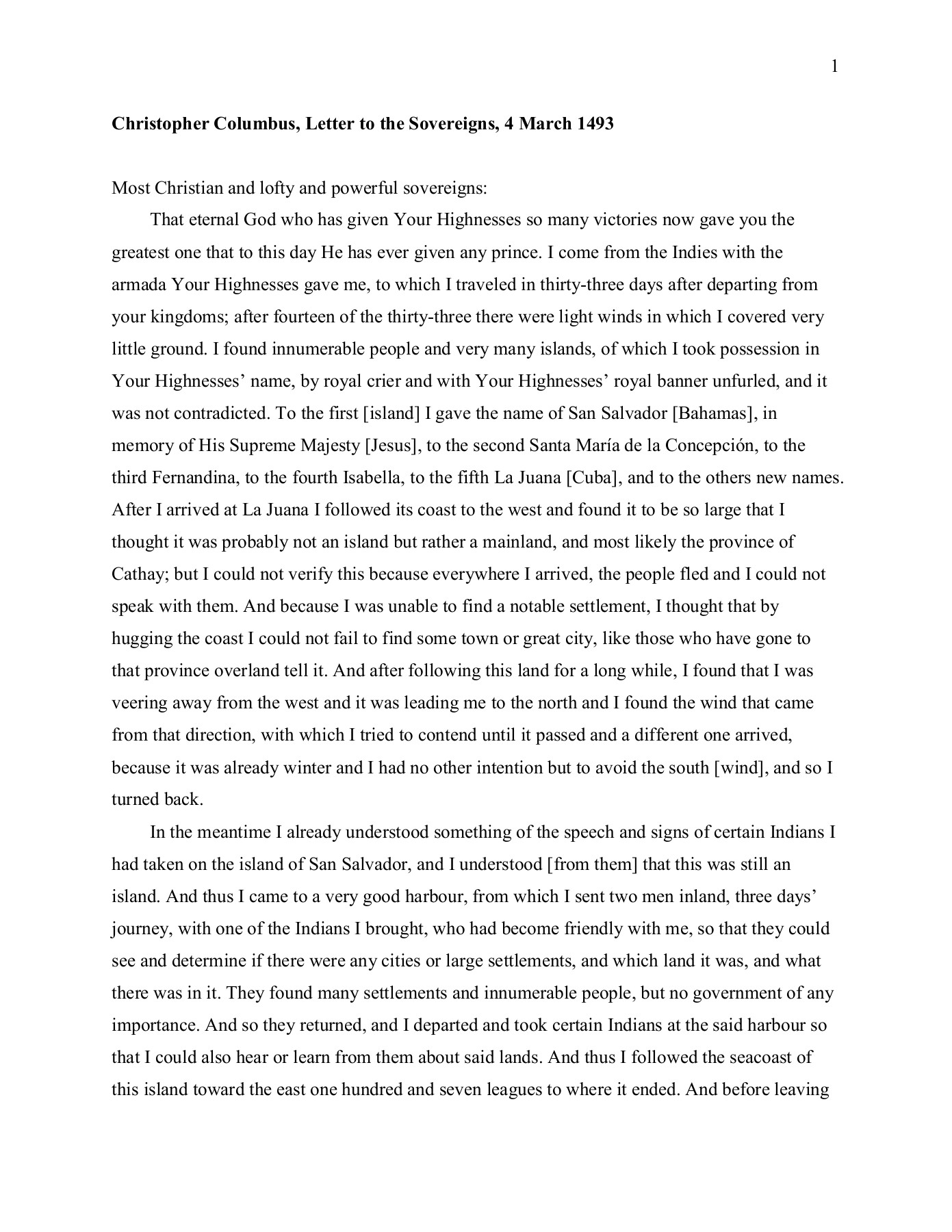 christopher columbus letter to the sovereigns 4 march 1493