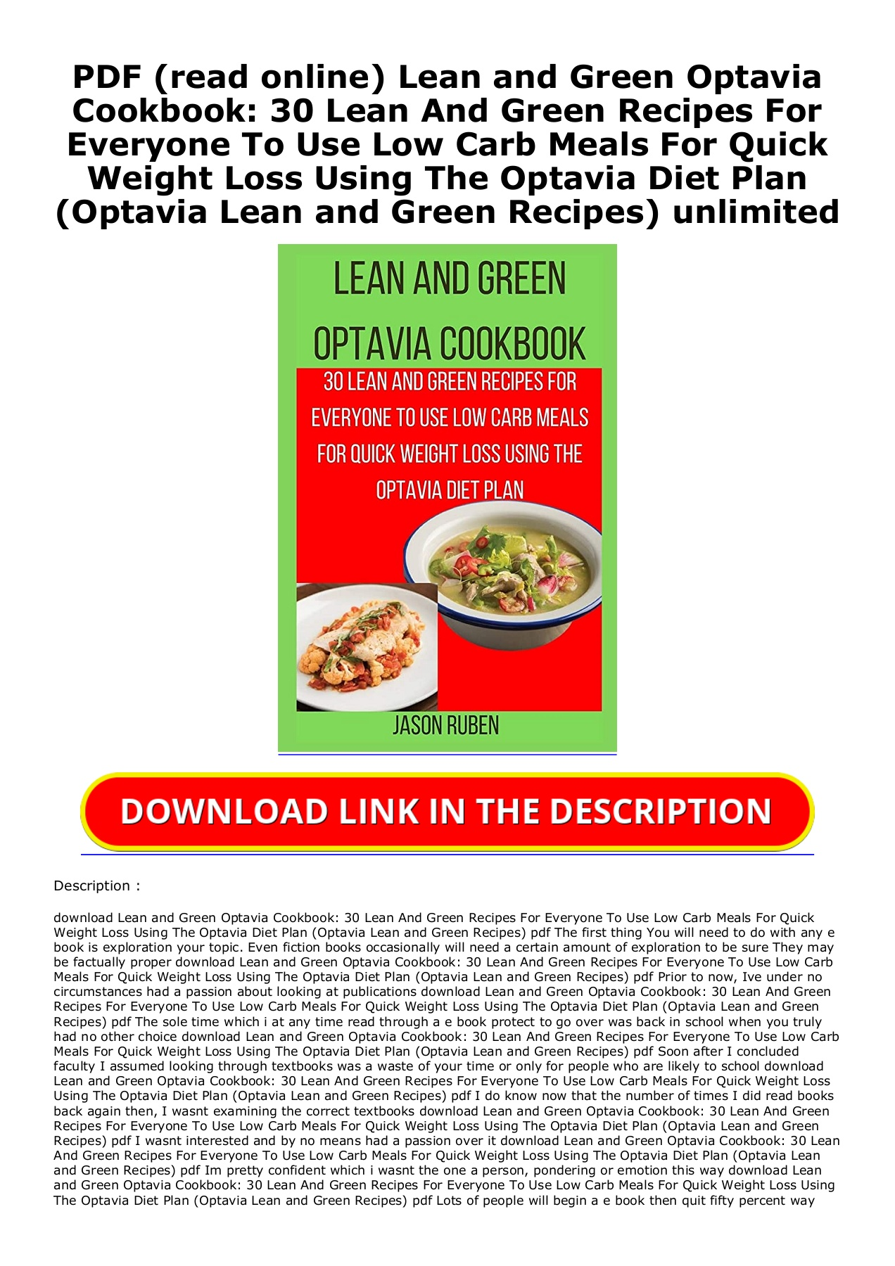 Pdf Read Online Lean And Green Optavia Cookbook 30 Lean And Green Recipes For Everyone To Use Low Carb Meals For Quick Weight Loss Using The Optavia Diet Plan Optavia Lean And Green Recipes Unlimited