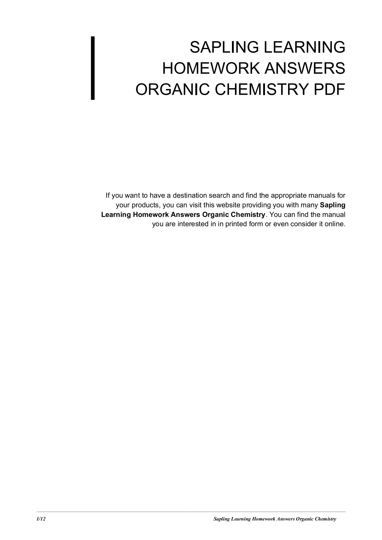 Sapling Learning Homework Answers Organic Chemistry Pages 1