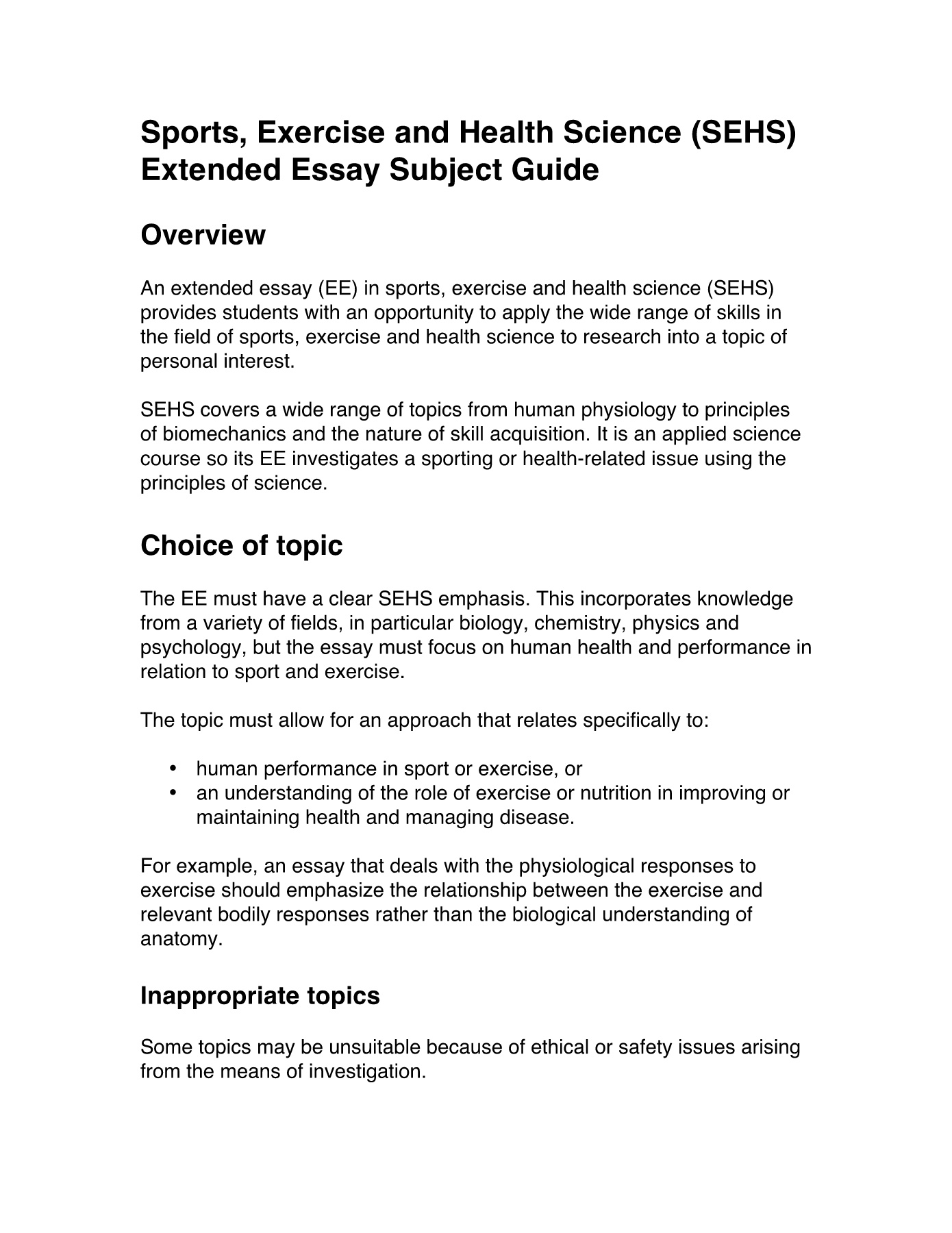 Personal interest in extended essay