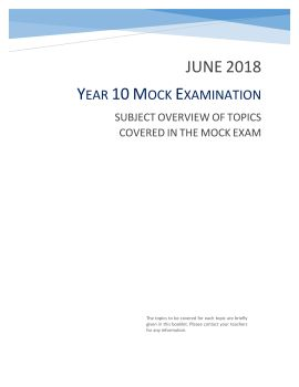 Year 11 Mock Subject Overview- Jan 2019 Pages 1 - 22 - Text