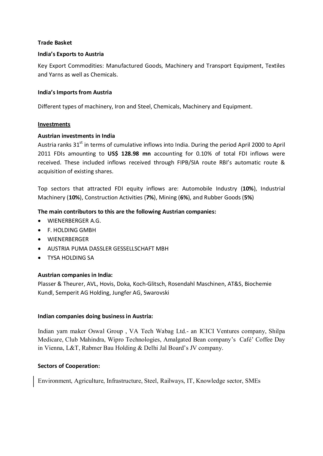 INDIA-AUSTRIA BILATERAL TRADE - FICCI Pages 1 - 3 - Text