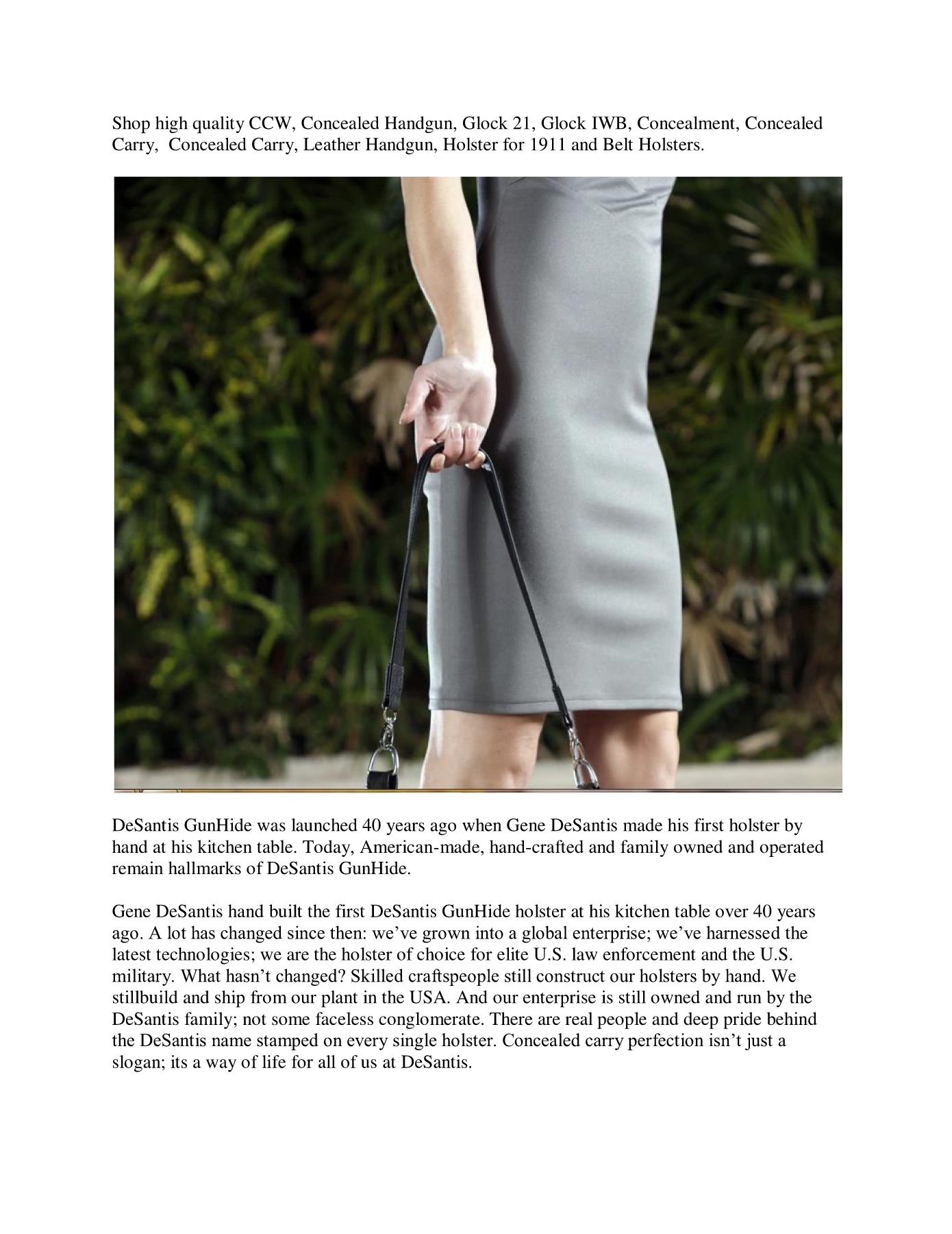 Concealed Handgun and Weapons Holster Pages 1 - 3 - Text