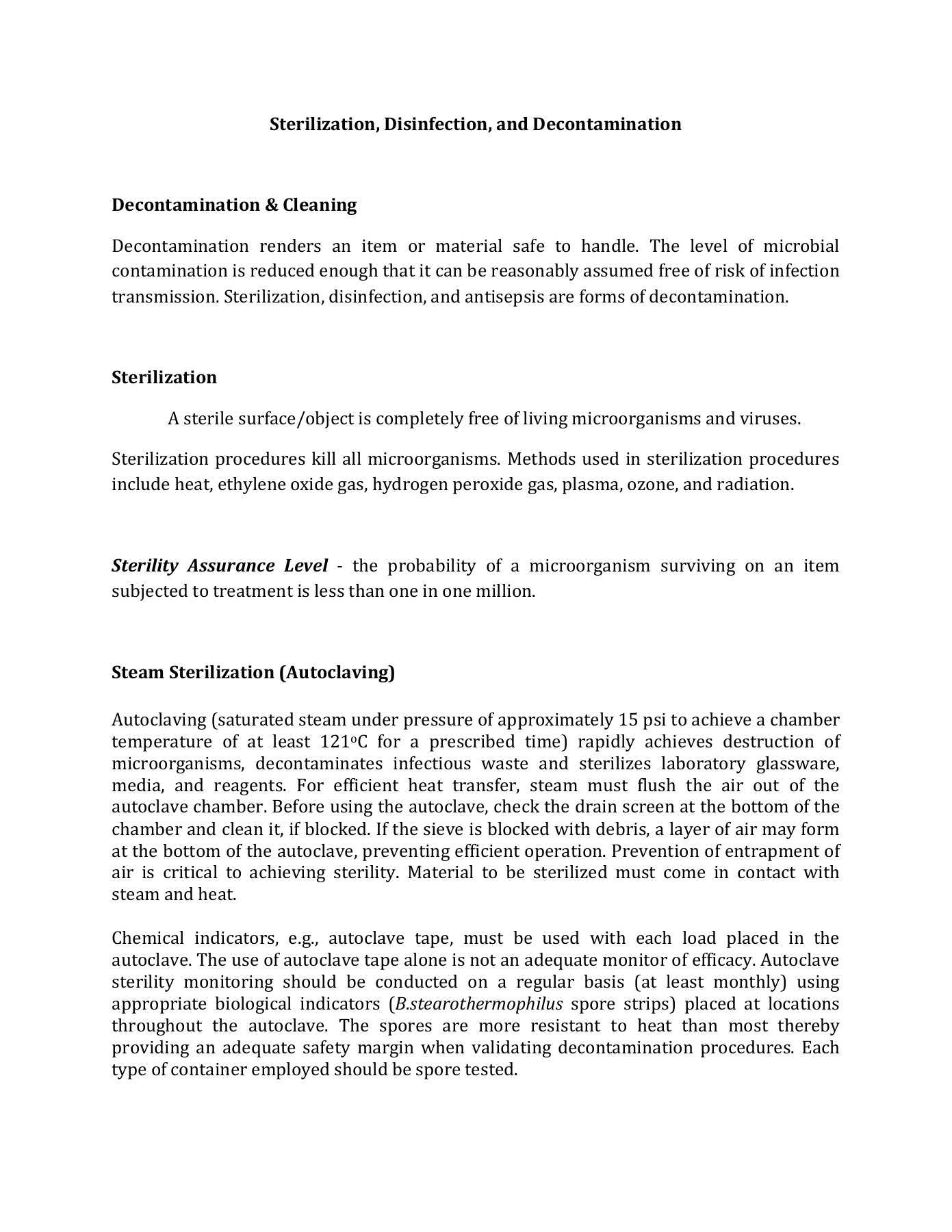 How to write a sterilization and disinfection short one page essay